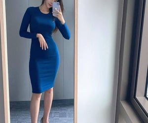 asian girl, blue dress, and high heels image