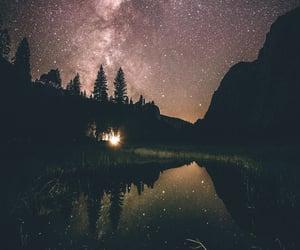night, stars, and yosemite national park image