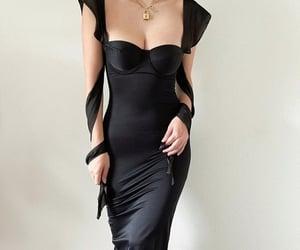 black, dress, and glam image