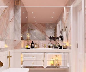 bathroom, aesthetic, and gold image