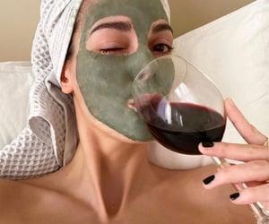 wine, face mask, and fashion image