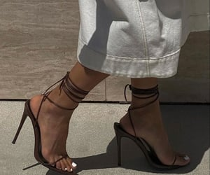 black, sandals, and fashion image