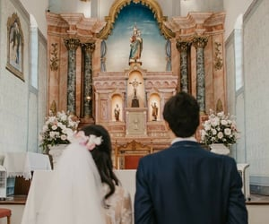 altar, church, and marriage image