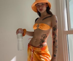 bikini, orange, and swimsuit image
