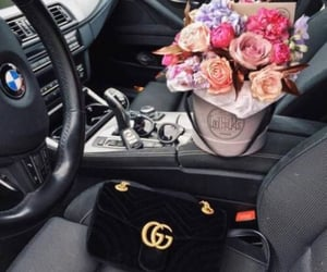 flowers, bmw, and car image