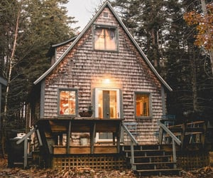 nature, autumn, and cabin image