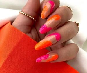 nail art, neon pink & orange, and swirls image