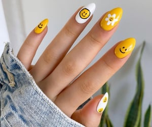 nails, smiley face, and white image