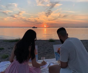 art, beach, and couple image