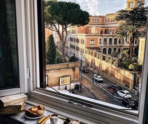 breakfast, city, and croissant image