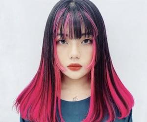 hair, pink hair, and pink image