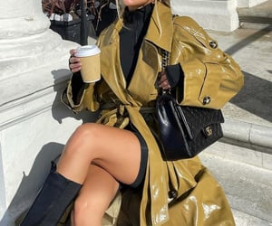 chanel bag, street style, and knee high boots image