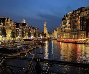 amsterdam, bicycles, and canal image
