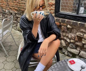 city life, coffee, and leather jacket image