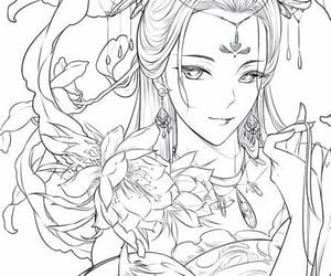 anime, colouring, and colouring page image