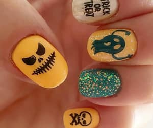 halloween nails, trick or treat nails, and evil ghosts faces image