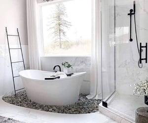 bath tub, bathroom, and home decor image
