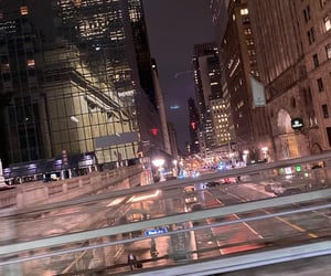 car, lights, and new york city image