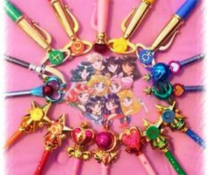 pens, stationary, and sailormoon image