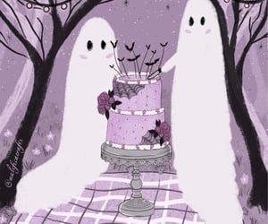 ghosts, Halloween, and wedding cake image
