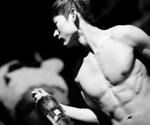 abs, black and white, and korean image