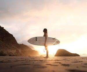 australia, girl, and sunset image
