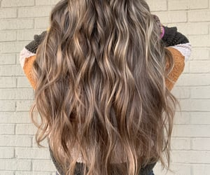 hair, brunette, and highlights image