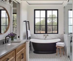 bath tub, bathroom, and cosy image