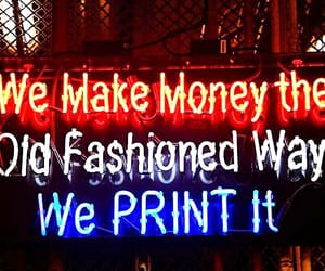 neon sign, usa, and money factory image