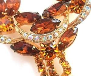 gold plated, rhinestone brooch, and renaissance fair image