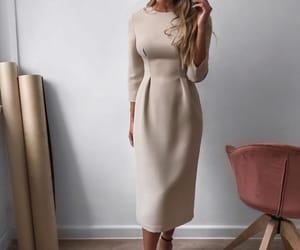 beige, dress, and fashion image
