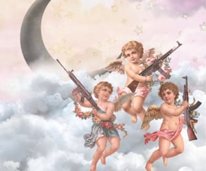 aesthetic, angels, and moon image