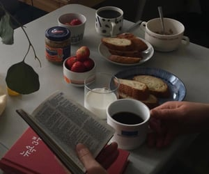 aesthetic, book, and breakfast image