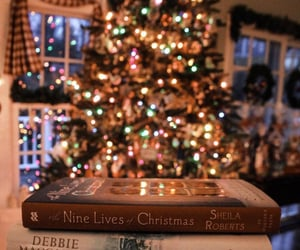christmas, light, and books image