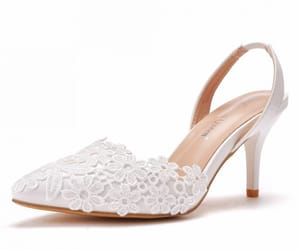 white, lace flower, and pointed toe image
