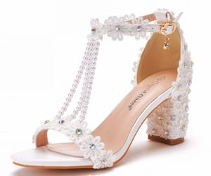 charming, high heels, and lace flower image