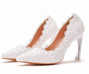 elegant, high heels, and lace flower image
