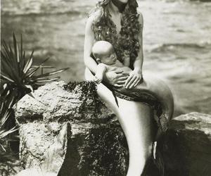 mermaid, baby, and black and white image
