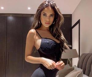 luxury lifestyle, beautiful model, and black slip dress image