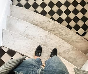 black and white, denim, and tile image