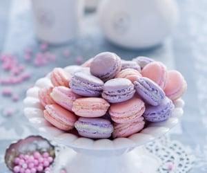 cake, macarons, and food image