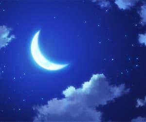 anime, banner, and moon image