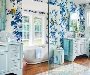bathroom, Bleu, and bois image