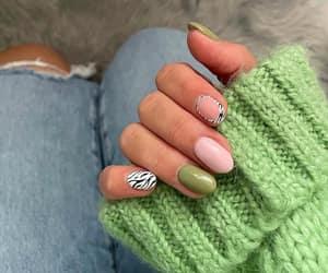 green nails, nail art, and animal print nails image