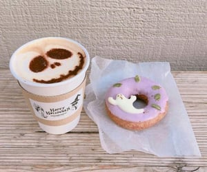 donuts, coffee, and autumn image