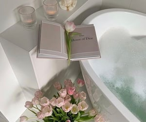 bath, book, and candles image