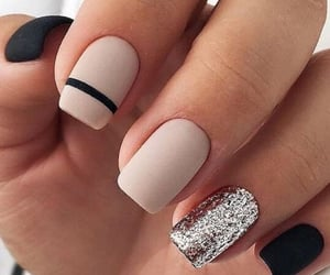 nails, black nails, and manicure image