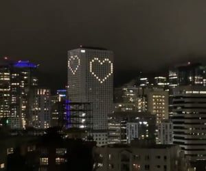 city, heart, and night image