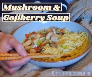 mushroom, vegan, and noodles image