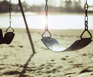 photography, swing, and beach image